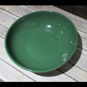 Vtg Dark Green Serving Fruit Bowl Ceramic MCM